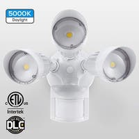 30W 3-Head Motion Activated LED Outdoor Security Light, 5000K, White