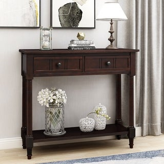 Traditional Espresso Console Table with Two Drawers and Bottom Shelf