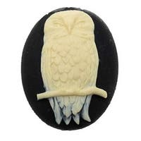 Vintage Style Lucite Oval Cameo Black With Ivory Perched Owl 40x30mm (1)