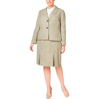 Le Suit Womens Plus Isola Bella Skirt Suit Textured Long Sleeves
