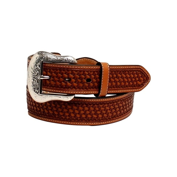 Nocona Western Belt Men Silver Bar Conchos Leather Lace Brown