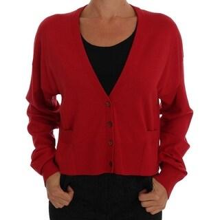 Dolce & Gabbana Red Wool Knit Cardigan Sweater - it40-s
