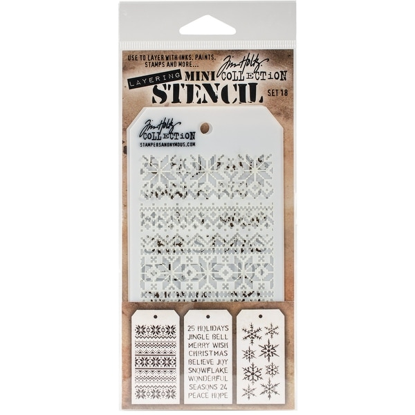 Tim Holtz Mini Layered Stencil Set 3/Pkg-Set #18