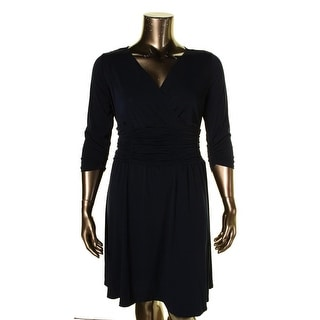 NY Collection Womens Plus Cocktail Dress Ruched A-Line