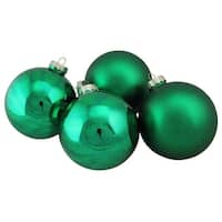 "4-Piece Shiny and Matte Green Glass Ball Christmas Ornament Set 4"" (100mm)"