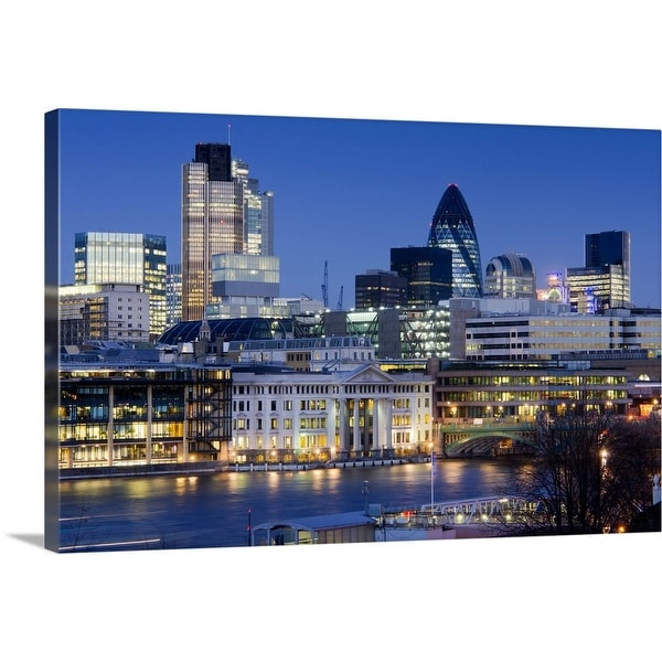 """""""Cityscape of the City of London at dusk"""" Canvas Wall Art"""