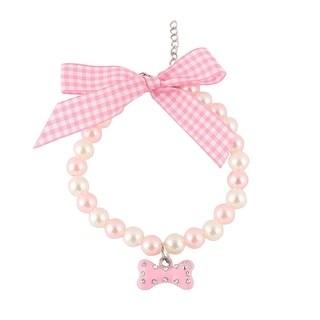 Metal Shining Rhinestone Round Beads Bone Charm Pendent Pet Necklace Light Pink