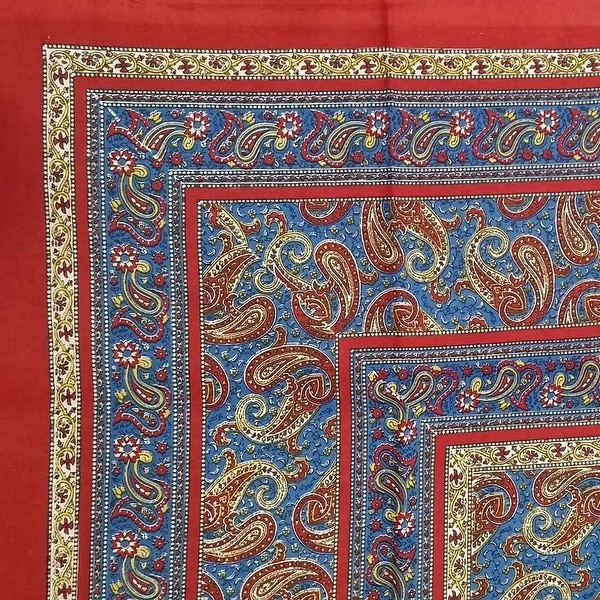 """Handmade Paisley Print 100% Cotton Tapestry Tablecloth Bedspread Beach Sheet Full 88""""x106"""" and Twin 70""""x106"""""""