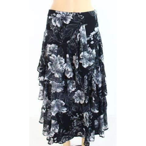 INC Womens Maxi Skirt Black Size 8P Petite Floral Print Tiered Ruffle