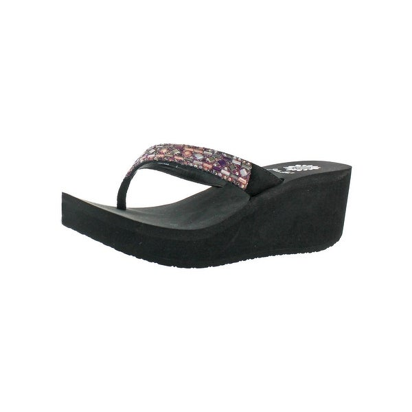 Yellow Box Womens Alistaire Wedge Sandals Embellished Slide