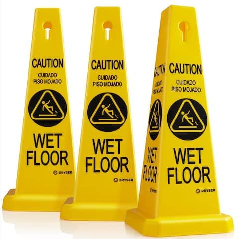 "3 Pack- 26"" Yellow Caution Wet Floor Cones - English/Spanish- Dryser"
