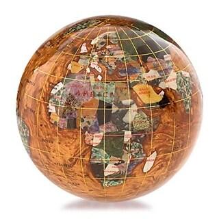 4 in. Gemstone Globe Paperweight - Copper Amber Ocean