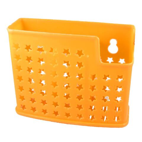 Home Kitchen 3 Compartments Perforated Plastic Chopsticks Fork Holder Box Orange