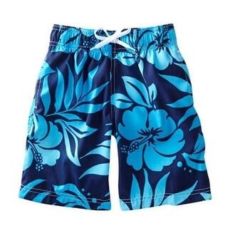 Azul Baby Boys Navy Floral Print True Blue Drawstring Tie Swim Shorts - 18 months