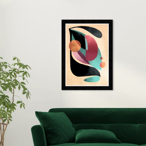 Wynwood Studio 'A Neutral Portrait' Abstract Wall Art Framed Print Shapes - Green, Brown