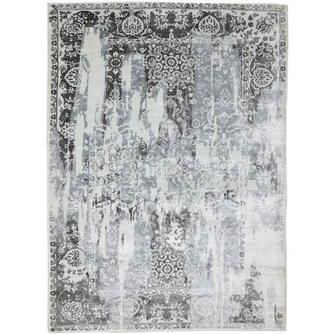 """One of a Kind Hand-Woven Americana 6' x 9' Abstract Silk Silver Rug - 5'7""""x7'10"""""""