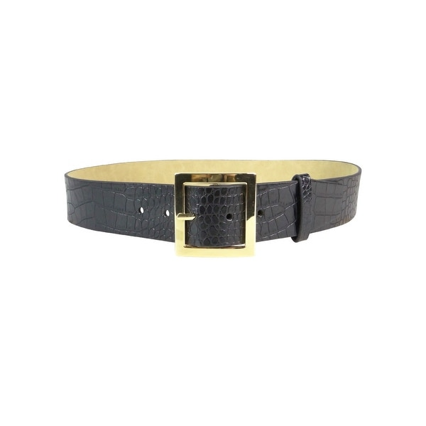 Style & Co. Women's Pilgrim Buckle Croc Faux Leather Belt
