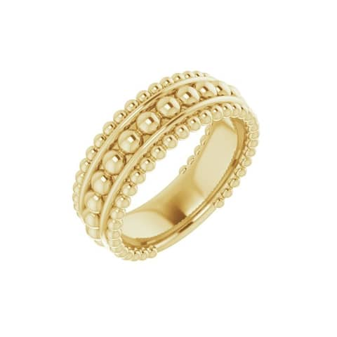 14K Gold Beaded Ring for Women (size :7)