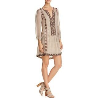 Joie Womens Paradiso Flounce Dress Aztec Embroidred Trim