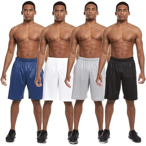 Zupo 4 Pack: Mens Active Athletic Workout Gym Shorts with Pockets
