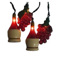 Tuscan Winery Grape & Wine Bottle Patio Christmas Lights - Green Wire