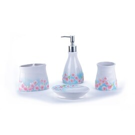 Floral Collection 4 Piece Ceramic Bathroom Accessory Set