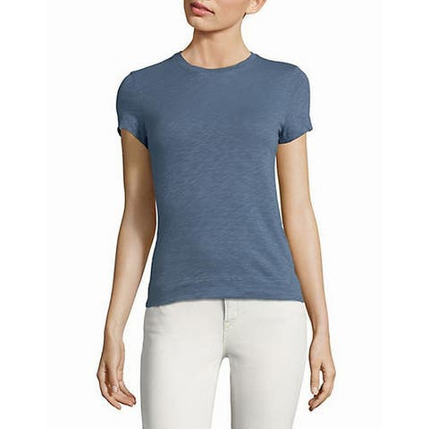 Theory Women's Top Blue Size Small S Knit Cotton Crewneck Stretch