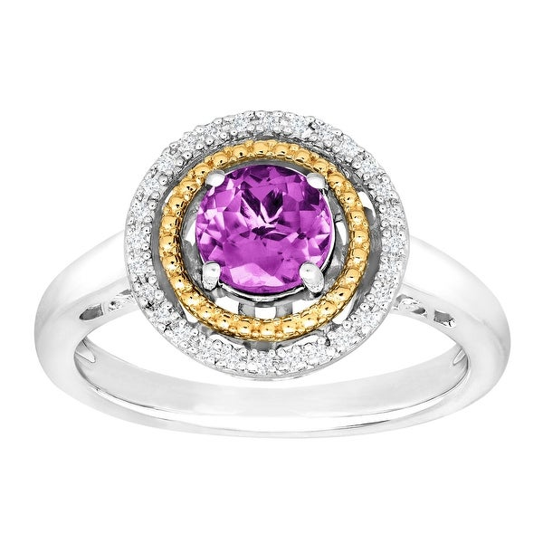 3/4 ct Natural Amethyst Halo Ring with Diamonds in Sterling Silver & 14K Gold - Purple