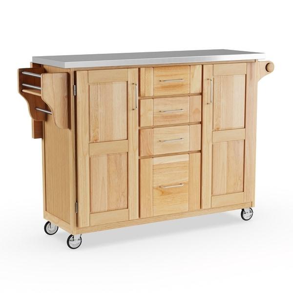 Copper Grove Puff Island Natural Breakfast Bar Kitchen Cart