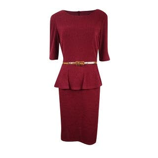 Connected Women's Belted Peplum Sweater Dress|https://ak1.ostkcdn.com/images/products/is/images/direct/e8caa27eaf1210bb844cfed272cae89fbf2ba5f9/Connected-Women%27s-Belted-Peplum-Sweater-Dress.jpg?impolicy=medium