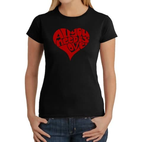 Women's Word Art T-Shirt - All You Need Is Love