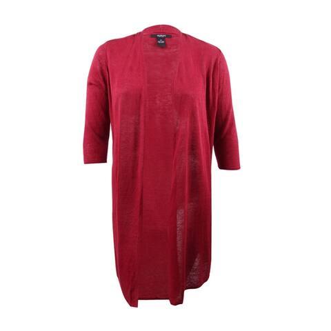 Alfani Women's Plus Size Linen Duster Cardigan (1X, Classic Wine) - Classic Wine - 1X