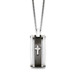 Chisel Stainless Steel Cross Black IP-plated Polished Necklace (2 mm) - 22 in