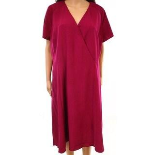 Anne Klein Womens Plus Asymmetrical Sheath Dress