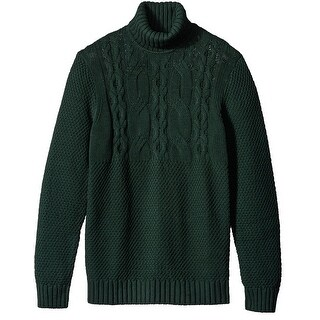 Nautica NEW Green Mens Size XL Solid Cable Knit Turtleneck Sweater