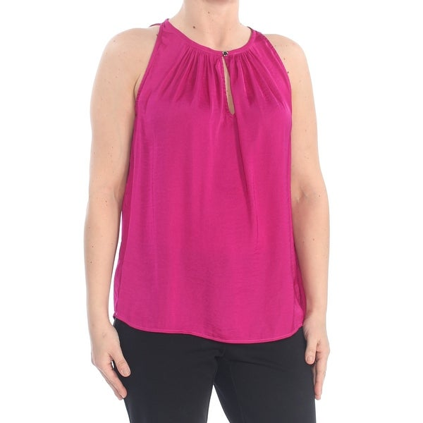 VINCE CAMUTO Womens Purple Sleeveless Keyhole Wear To Work Top Size: S