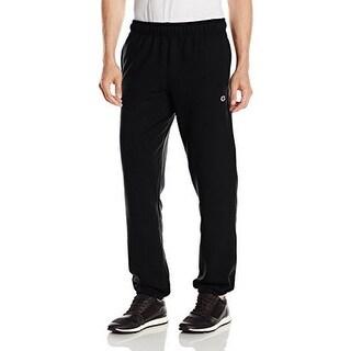 Champion Mens Powerblend Elastic Bottom Fleece Pant, Black, S