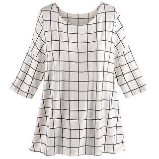 "Women's Tunic Top - Bamboo Windowpane Check Blouse - One Size Fits Most 28"" Long - MEDIUM"
