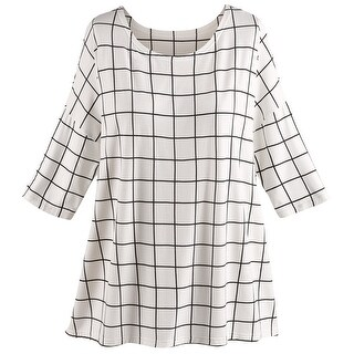 "Women's Tunic Top - Rayon from Bamboo Windowpane Check Blouse - One Size Fits Most 28"" Long - MEDIUM"