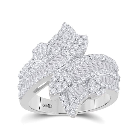 14k White Gold Womens Baguette Diamond Bypass Cluster Fashion Ring 1-1/3 Cttw