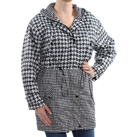 MICHAEL KORS Womens White Houndstooth Hooded Zip Up Jacket Size: M