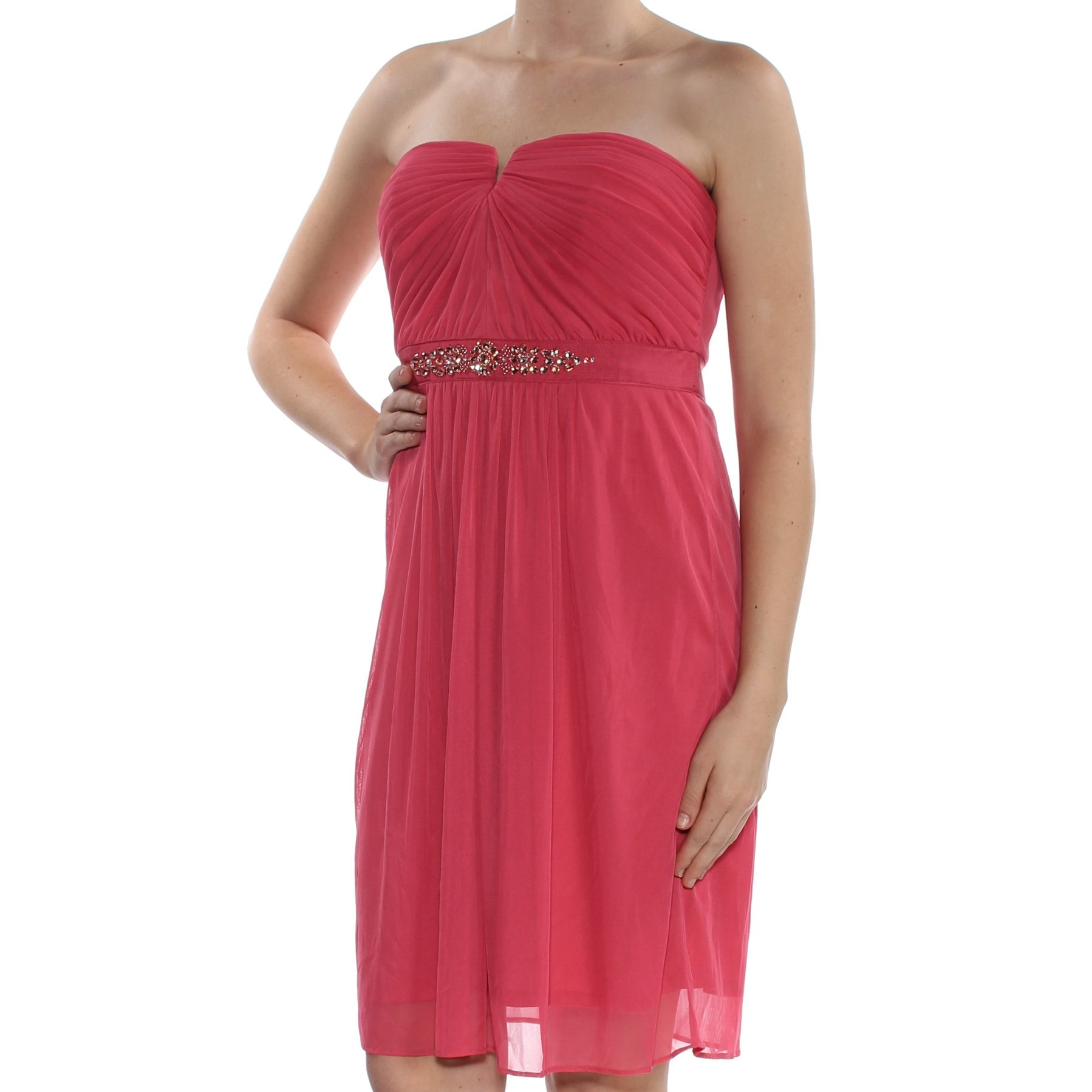 ADRIANNA PAPELL Womens Coral Strapless Above