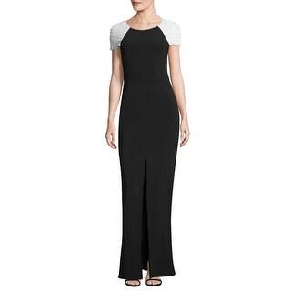 Parker Black Embellished Shoulder Kaley Column Evening Gown Dress Ivory/Black - 10