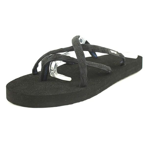 Teva Olowahu Women W Open Toe Canvas Black Flip Flop Sandal