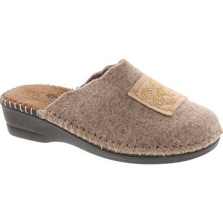 Sc Home Collection Womens 15217 Natural Wool Hippie Flower Cozy House  Slippers Made In Europe