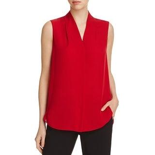 Elie Tahari Womens Ginny Tank Top Silk Button-Front