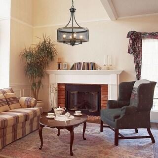 "Link to 4-lights Rustic Drum Chandelier Foyer Pendant Kitchen Island Lighting - W16""xH21"" Similar Items in Pendant Lights"