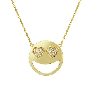 Amanda Rose Cubic Zirconia Heart Eyes Emoji Pendant-Necklace in Gold Over Sterling Silver on an 18 inch chain