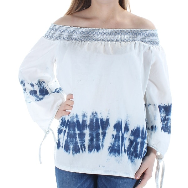 a7b3be9b3c Shop Womens Blue Tie Dye Long Sleeve Off Shoulder Top Size L - On Sale - Free  Shipping On Orders Over  45 - Overstock.com - 21388319