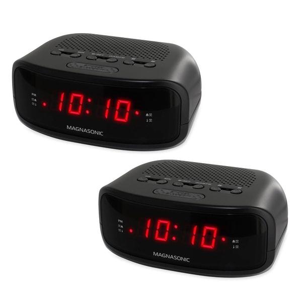 Magnasonic Digital AM/FM Clock Radio with Battery Backup, Dual Alarm, Sleep/Snooze Functions, Display Dimming - 2 Pack